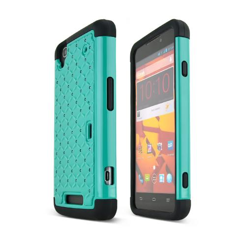 Dark Mint ZTE Max Hard Cover w/ Bling Over Black Silicone Skin Case