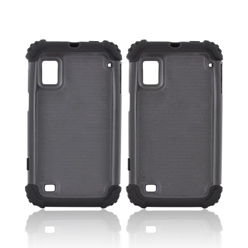 ZTE Warp N860 Textured Hard Cover Over Silicone Case - Black