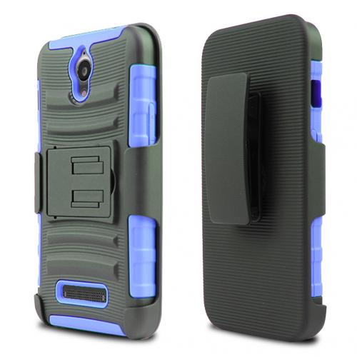 ZTE Obsidian Holster Case, [Blue] Supreme Protection Plastic on Silicone Dual Layer Hybrid Case