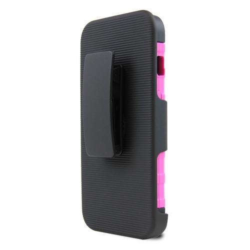 ZTE Obsidian Holster Case, [Hot Pink] Supreme Protection Plastic on Silicone Dual Layer Hybrid Case
