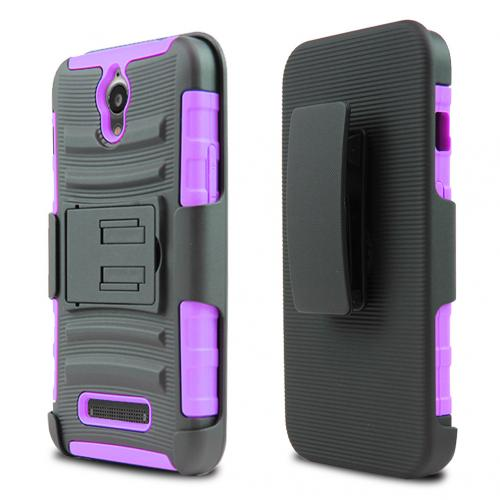 ZTE Obsidian Holster Case, [Purple] Supreme Protection Plastic on Silicone Dual Layer Hybrid Case