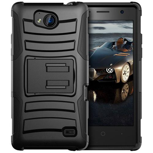 [ZTE Tempo] Holster Case, REDshield [Black] Supreme Protection Hard Plastic on Silicone Skin Dual Layer Hybrid Case