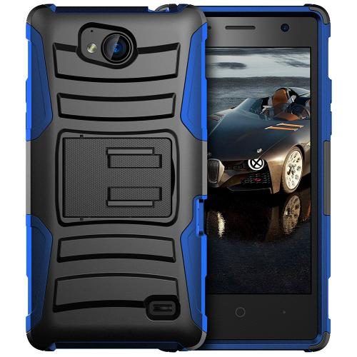 [ZTE Tempo] Holster Case, REDshield [Blue/ Black] Supreme Protection Hard Plastic on Silicone Skin Dual Layer Hybrid Case