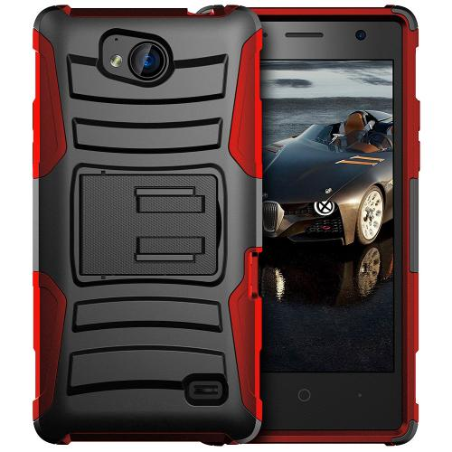[ZTE Tempo] Holster Case, REDshield [Red/ Black] Supreme Protection Hard Plastic on Silicone Skin Dual Layer Hybrid Case