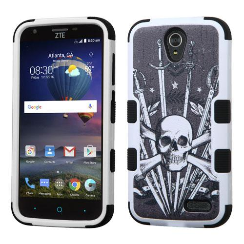 [ZTE Warp 7] Case, TUFF Hybrid Dual Layer Hard Case on Silicone Skin [Skulls & Swords]