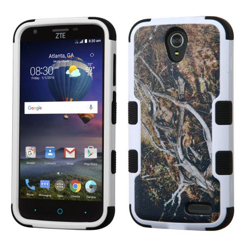 [ZTE Warp 7] Case, TUFF Hybrid Dual Layer Hard Case on Silicone Skin [Tree Branches on Black]