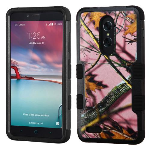 [ZTE Zmax Pro] Case, TUFF Hybrid Dual Layer Hard Case on Silicone Skin [Pink Oak - Hunting Camouflage]