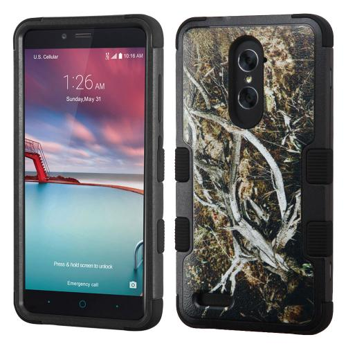 ZTE Zmax Pro Case, TUFF Hybrid Dual Layer Hard Case on Silicone Skin [Tree Branches on Black]