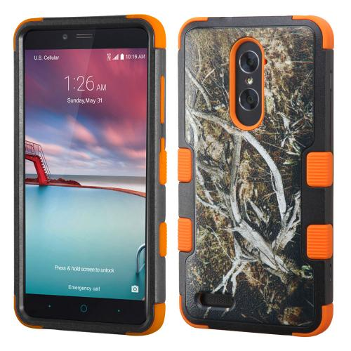 ZTE Zmax Pro Case, TUFF Hybrid Dual Layer Hard Case on [Orange] Silicone Skin [Tree Branches on Black]