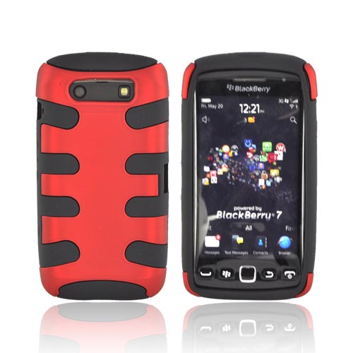 Blackberry Torch 9860 9850 Hard Rubberized Fishbone on Silicone Case - Red/ Black