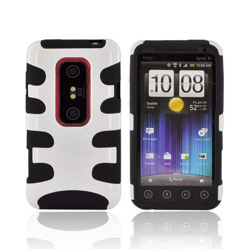 HTC EVO 3D Hard Rubberized Fishbone on Silicone Case - White/ Black
