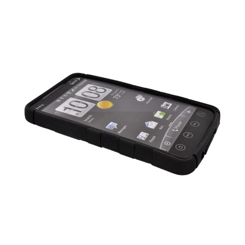 HTC EVO 4G Hard Rubberized Fish Bone on Silicone Case - Black on Black