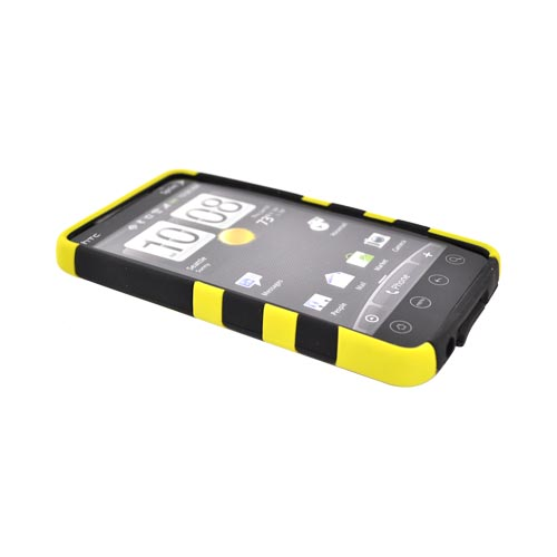 HTC EVO 4G Hard Rubberized Fish Bone on Silicone Case - Yellow on Black