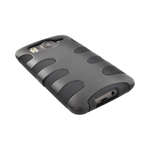 HTC Inspire 4G Hard Rubberized Fishbone on Silicone Case - Black