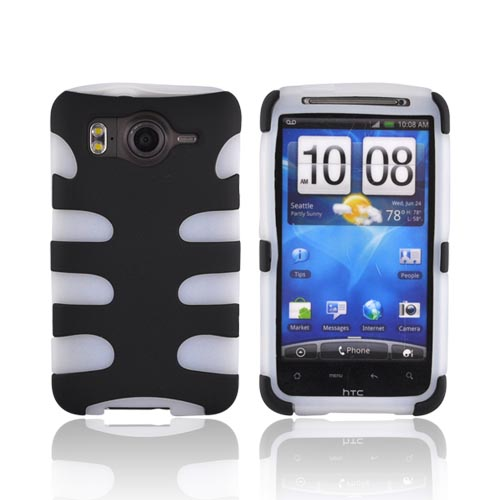 HTC Inspire 4G Hard Rubberized Fishbone on Silicone Case - Black on Frost White