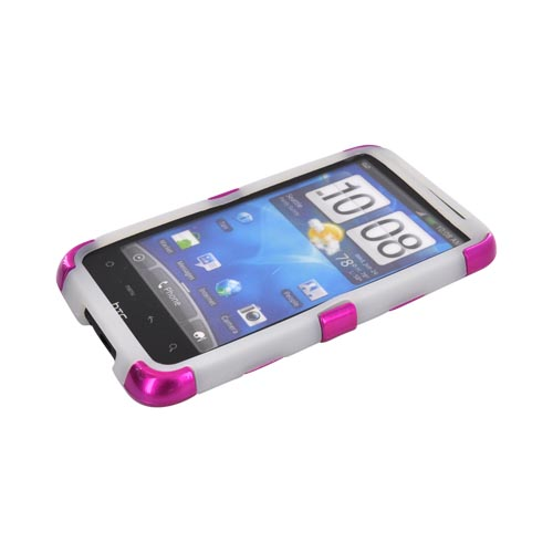 HTC Inspire 4G Hard Rubberized Fishbone on Silicone Case - Hot Pink on Frost White