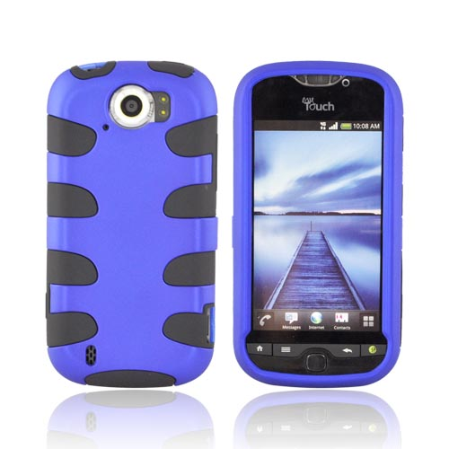 HTC Mytouch 4G Slide Hard Rubberized Fishbone on Silicone Case - Blue/ Black