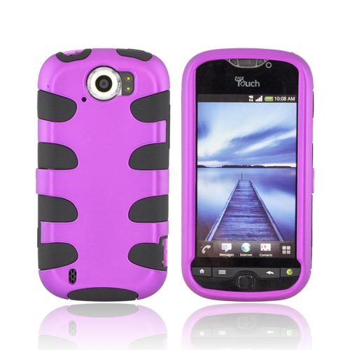 HTC Mytouch 4G Slide Hard Rubberized Fishbone on Silicone Case - Purple/ Black