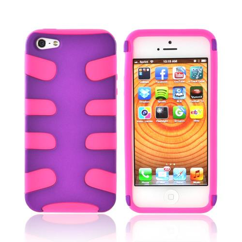 Apple iPhone 5/5S Rubberized Hard Fishbone on Silicone Case - Purple/ Hot Pink