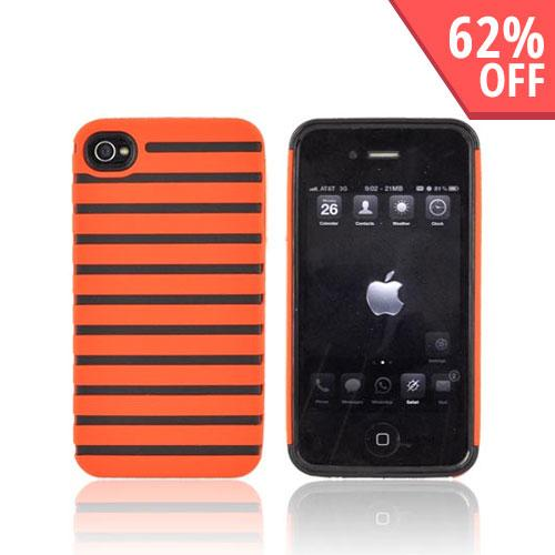 Apple iPhone 4 Rubberized Striped Shell on Crystal Silicone Case - Bright Orange
