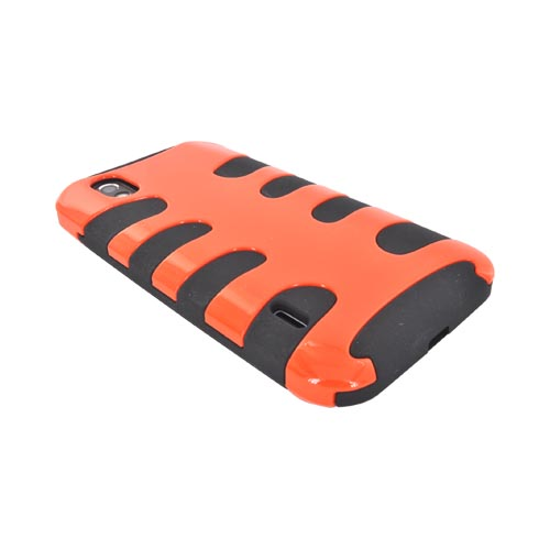 LG Marquee LS855 Hard Fishbone on Silicone Case - Orange/ Black