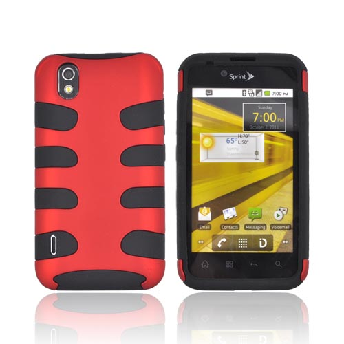 LG Marquee LS855 Rubberized Hard Fishbone on Silicone Case - Red/ Black