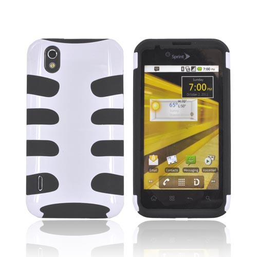 LG Marquee LS855 Hard Fishbone on Silicone Case - White/ Black