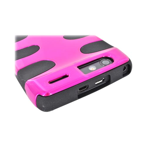 Motorola Droid RAZR Hard Fishbone on Silicone Case - Hot Pink/ Black