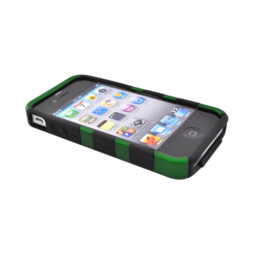 Apple Verizon/ AT&T iPhone 4, iPhone 4S Hard Rubberized Fish Bone on Silicone Case - Green on Black