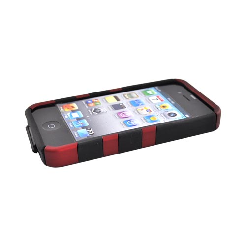 Apple Verizon/ AT&T iPhone 4, iPhone 4S Hard Rubberized Fish Bone on Silicone Case - Red on Black