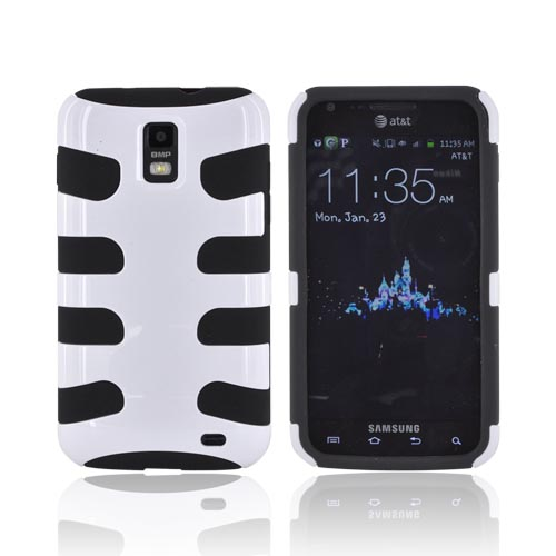 Samsung Galaxy S2 Skyrocket Hard Fishbone on Silicone Case - Solid White/ Black