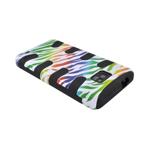 AT&T Samsung Galaxy S2 Hard Fishbone on Silicone Case - Rainbow Zebra on White/ Black