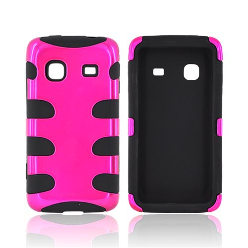 Samsung Galaxy Prevail M820 Hard Rubberized Fish Bone on Silicone Case - Hot Pink on Black