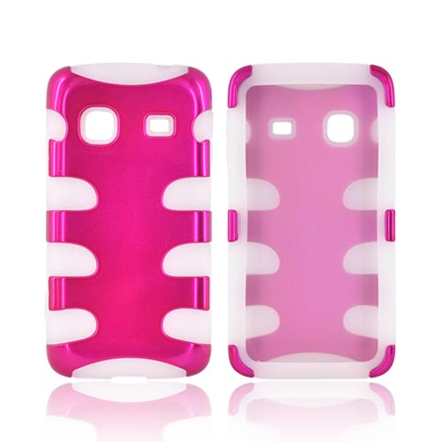 Samsung Galaxy Prevail M820 Hard Rubberized Fish Bone on Silicone Case - Hot Pink on Frost White