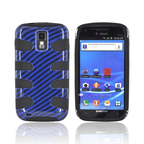 T-Mobile Samsung Galaxy S2 Hard Fishbone on Silicone Case - Blue Carbon Fiber/ Black
