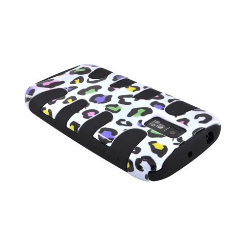 T-Mobile Samsung Galaxy S2 Hard Fishbone on Silicone Case - Colorful Leopard on White/ Black