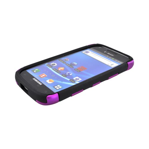 T-Mobile Samsung Galaxy S2 Rubberized Hard Fishbone on Silicone Case - Purple/ Black