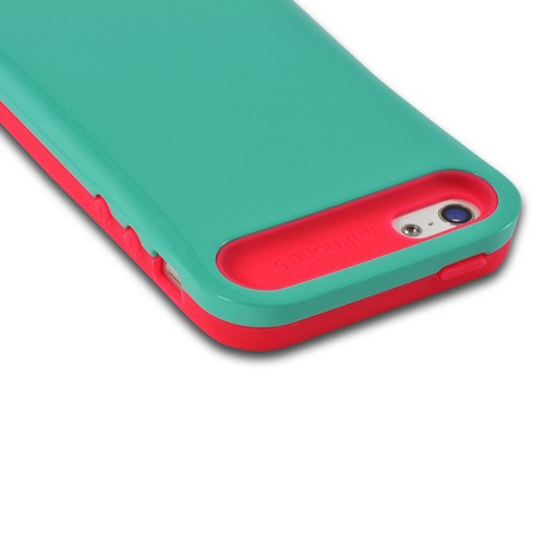 Apple iPhone SE / 5 / 5S  Case,  [Hot Pink/ Turquoise]  Hard Cover on Silicone Case