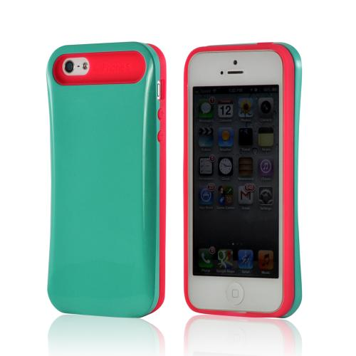 Hot Pink/ Turquoise Hard Cover on Silicone Case for Apple iPhone 5/5S