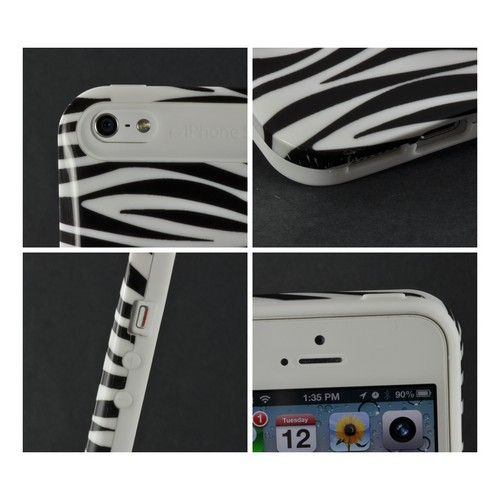 Apple iPhone SE / 5 / 5S  Case,  [White/ Black Zebra]  Hard Cover on Silicone Case