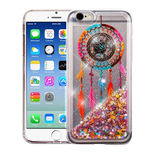 Apple iPhone 6/6S (4.7 inch) Case, Slim Crystal Back Bumper Case [Drop Protection] [Dreamcatcher & Gold Stars] Quicksand Glitter Flexible Border Case