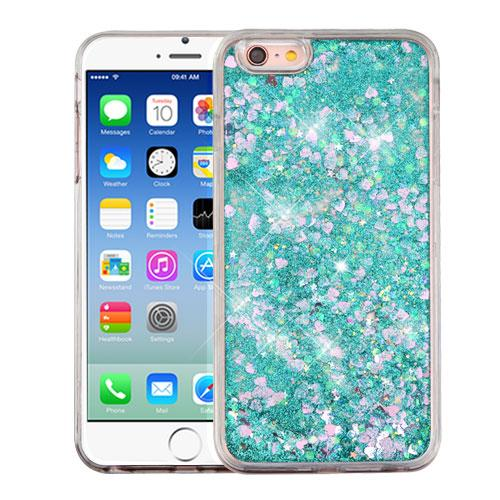 Apple iPhone 6/6S (4.7 inch) Case, Slim Crystal Back Bumper Case [Drop Protection] [Green & Hearts] Quicksand Glitter Flexible Border Case