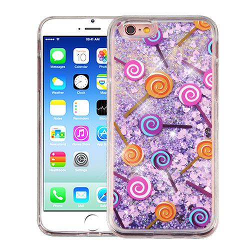 Apple iPhone 6/6S (4.7 inch) Case, Slim Crystal Back Bumper Case [Drop Protection] [Lollipops & Purple Hearts] Quicksand Glitter Flexible Border Case