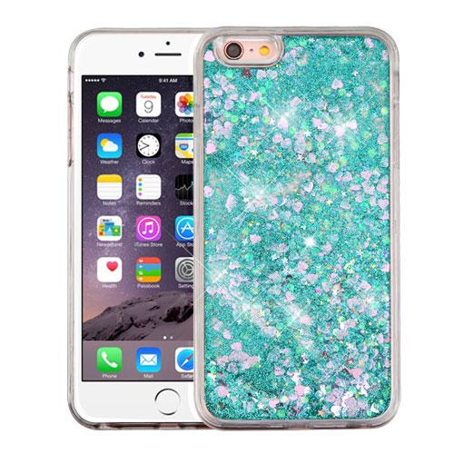 Apple iPhone 6/6S Plus (5.5 inch) Case, Slim Crystal Back Bumper Case [Drop Protection] [Green & Hearts] Quicksand Glitter Flexible Border Case