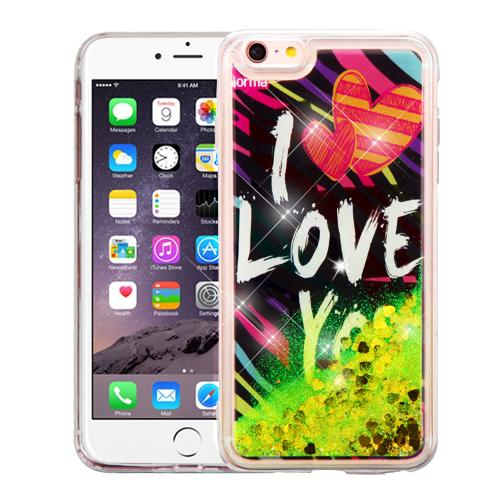 Apple iPhone 6/6S Plus (5.5 inch) Case, Slim Crystal Back Bumper Case [Drop Protection] [I Love You & Gold Hearts] Quicksand Glitter Flexible Border Case