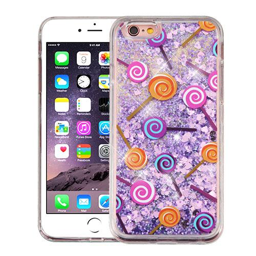 Apple iPhone 6/6S Plus (5.5 inch) Case, Slim Crystal Back Bumper Case [Drop Protection] [Lollipops & Purple Hearts] Quicksand Glitter Flexible Border Case