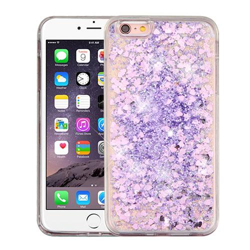 Apple iPhone 6/6S Plus (5.5 inch) Case, Slim Crystal Back Bumper Case [Drop Protection] [Purple Hearts] Quicksand Glitter Flexible Border Case