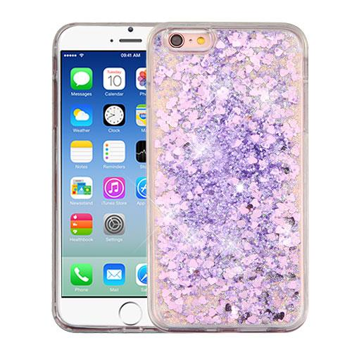 Apple iPhone 6/6S (4.7 inch) Case, Slim Crystal Back Bumper Case [Drop Protection] [Purple Hearts] Quicksand Glitter Flexible Border Case