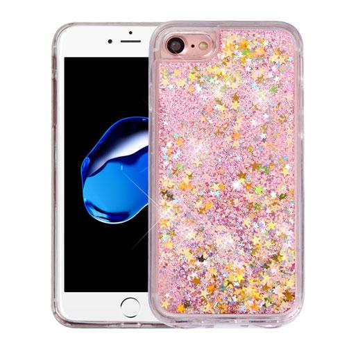 Apple iPhone 7 (4.7 inch) Case, Slim Crystal Back Bumper Case [Drop Protection] [Baby Pink & Stars] Quicksand Glitter Flexible Border Case