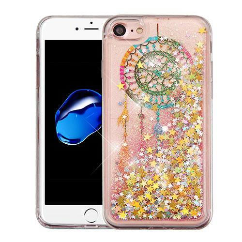 Apple iPhone 7 (4.7 inch) Case, Slim Crystal Back Bumper Case [Drop Protection] [Dreamcatcher & Gold Stars] Quicksand Glitter Flexible Border Case